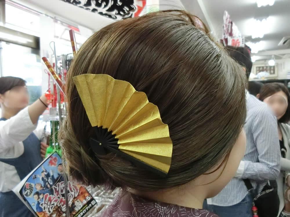 祭りヘア 祭り女子 ヘアアレンジ ヘアスタイル 髪型 扇子