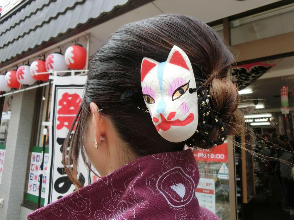 祭り女子 祭りヘア ヘアスタイル ヘアアレンジ バンダナ紐 ねじり棒 ミニお面