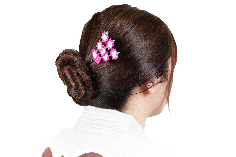 祭りヘアアレンジ 軒花 髪飾り